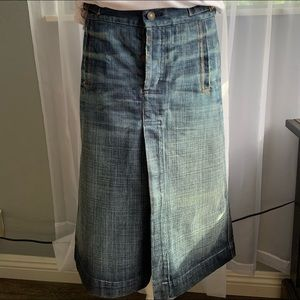 7 for all mankind long denim skirt with front slit